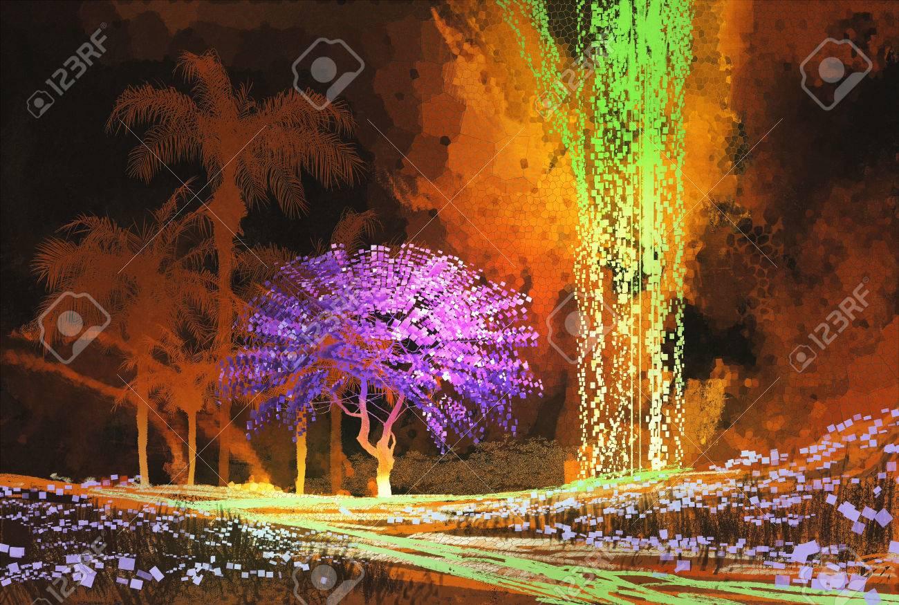 paysage tropical montrant arbre violet dans la grotte avec cascade