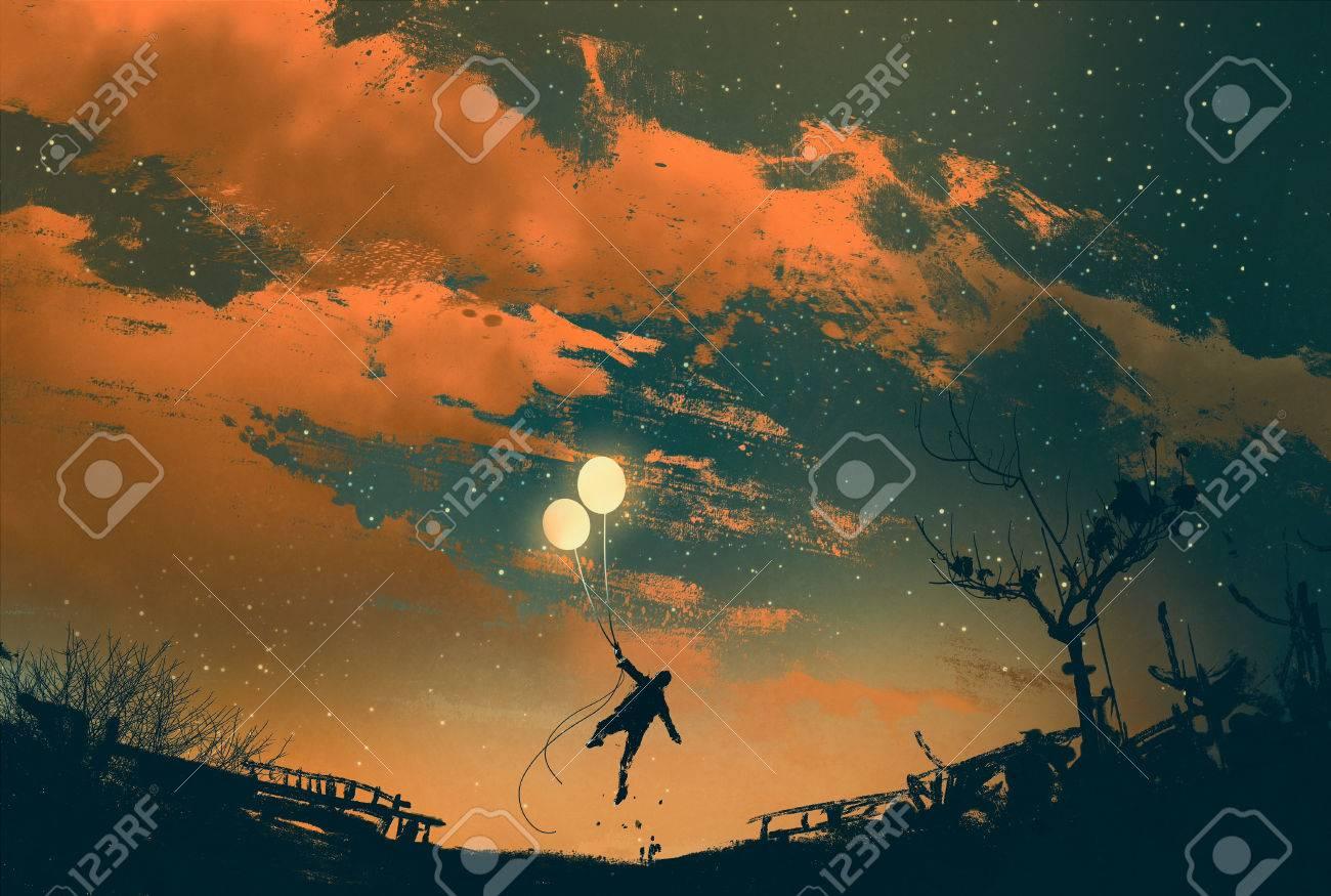 man flying with balloon lights at sunset,illustration painting Stock Illustration - 47498279