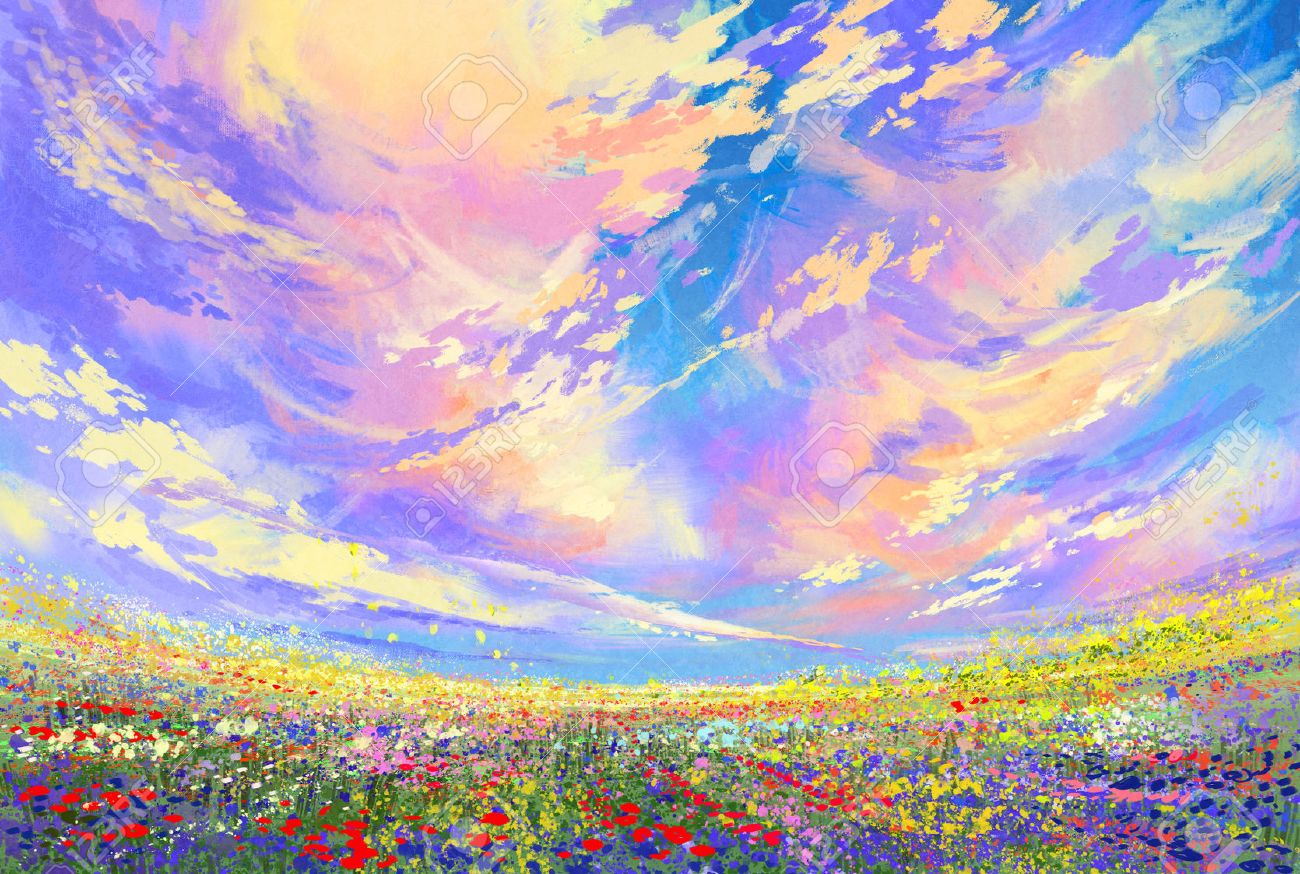Colorful Flowers In Field Under Beautiful Clouds Landscape Painting