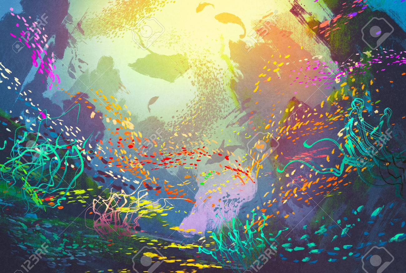 underwater with coral reef and colorful fish,illustration painting Stock Illustration - 47498302