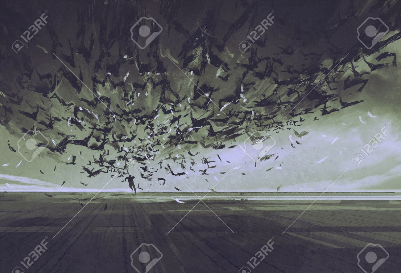 attack of crows,man running away from flock of birds,illustration painting Stock Illustration - 47848854