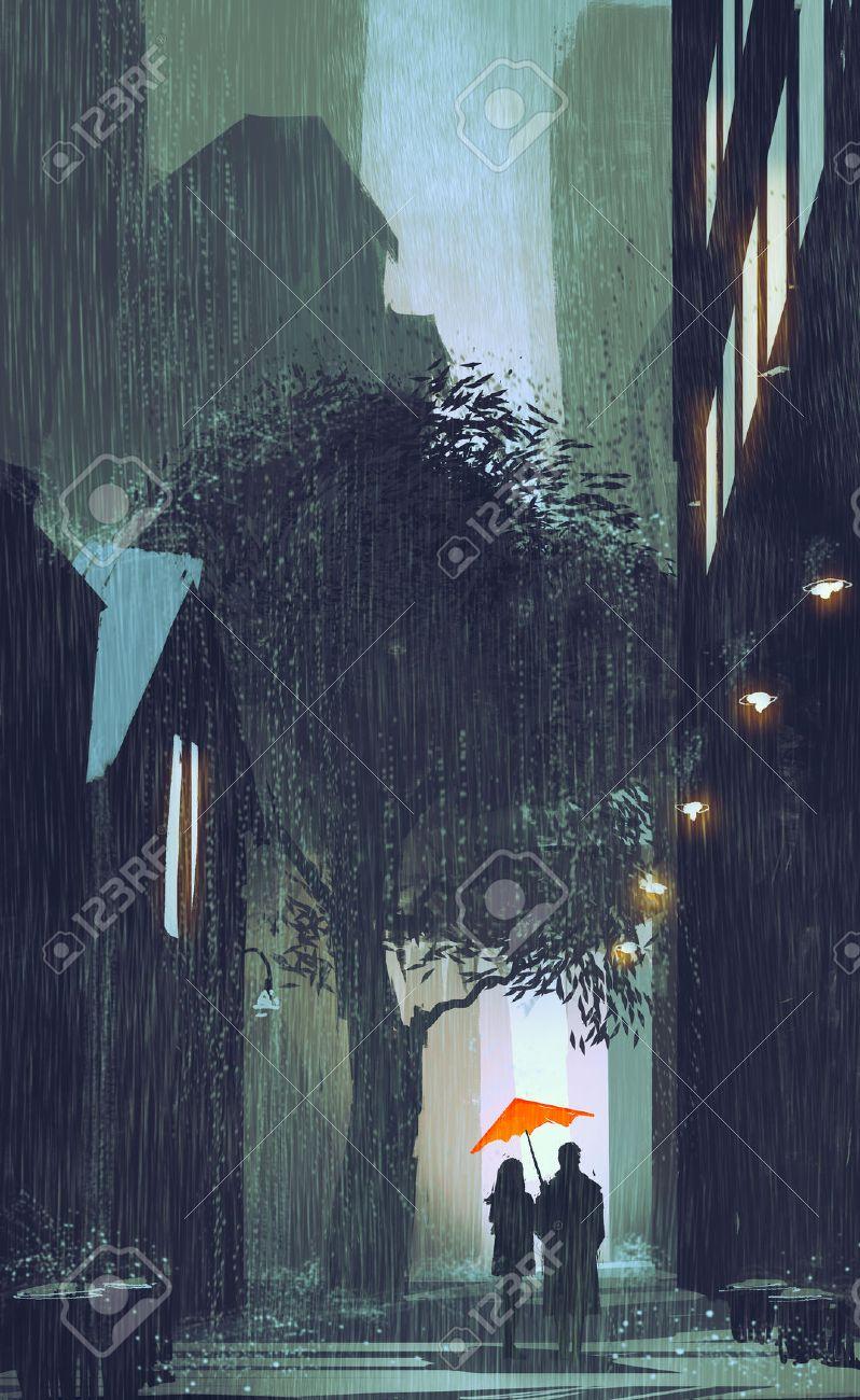 couple with red umbrella walking in raining street at night,illustration painting Stock Illustration - 48196403
