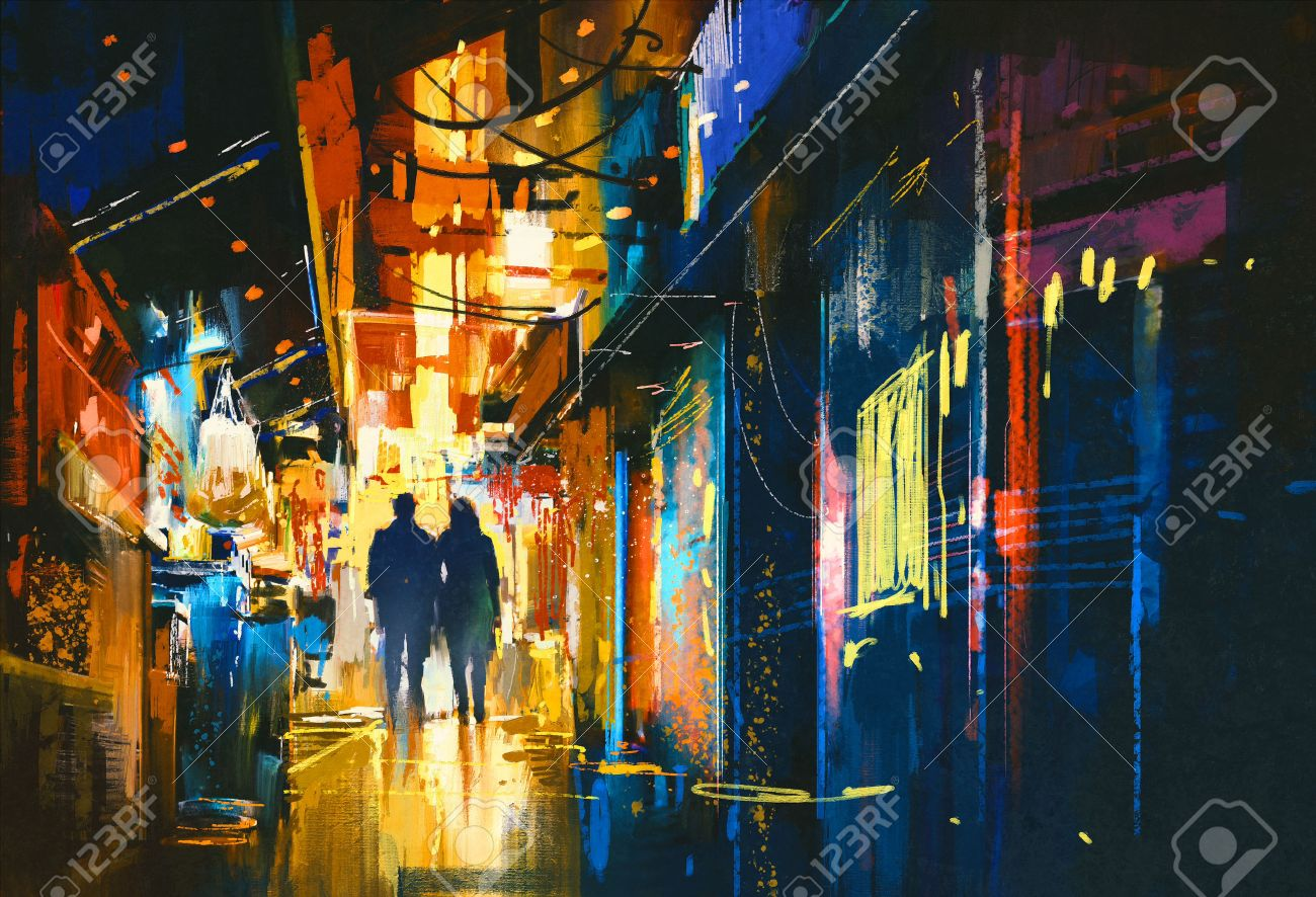 couple walking in alley with colorful lights,digital painting Stock Photo - 48196469