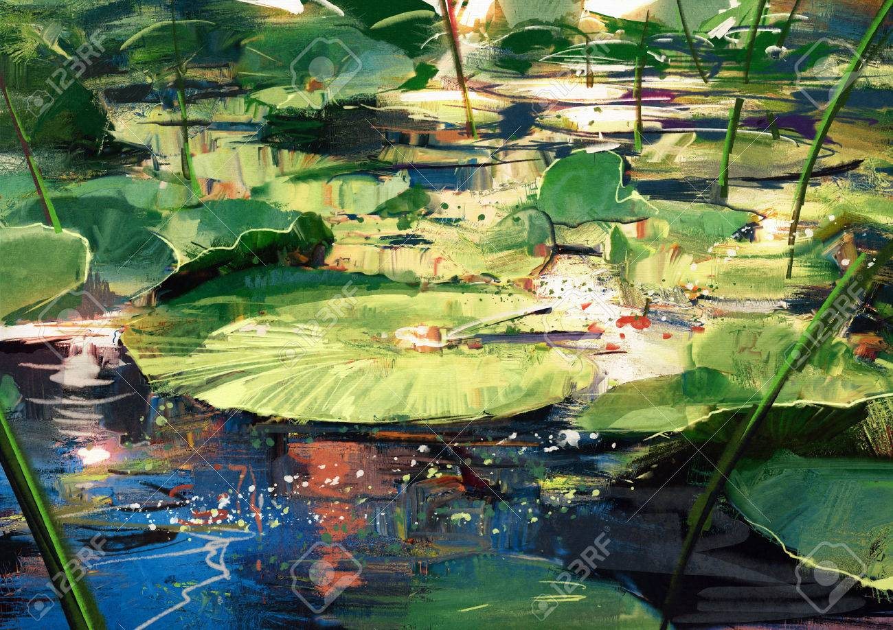 beautiful painting showing lotus leaves in pond Stock Photo - 48196475