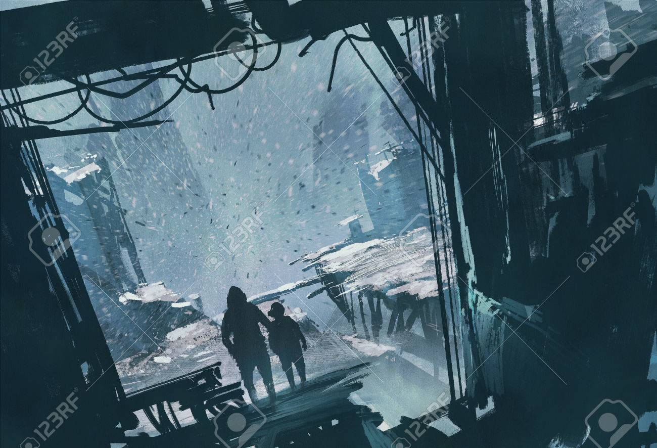 man and boy standing looking out at ruined city with snow storm,illustration painting Stock Illustration - 48430369