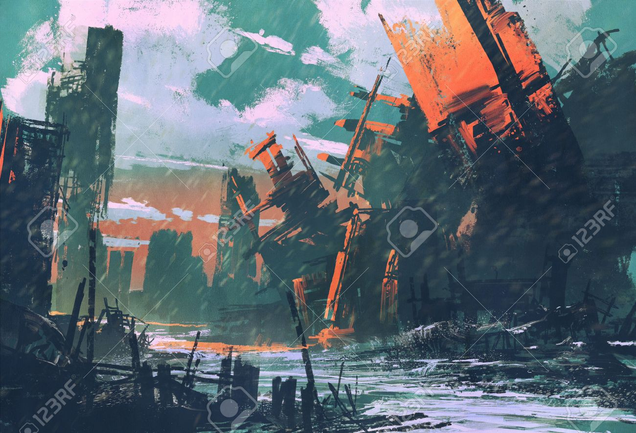 disaster city,apocalyptic scenery,illustration painting Stock Illustration - 48430374