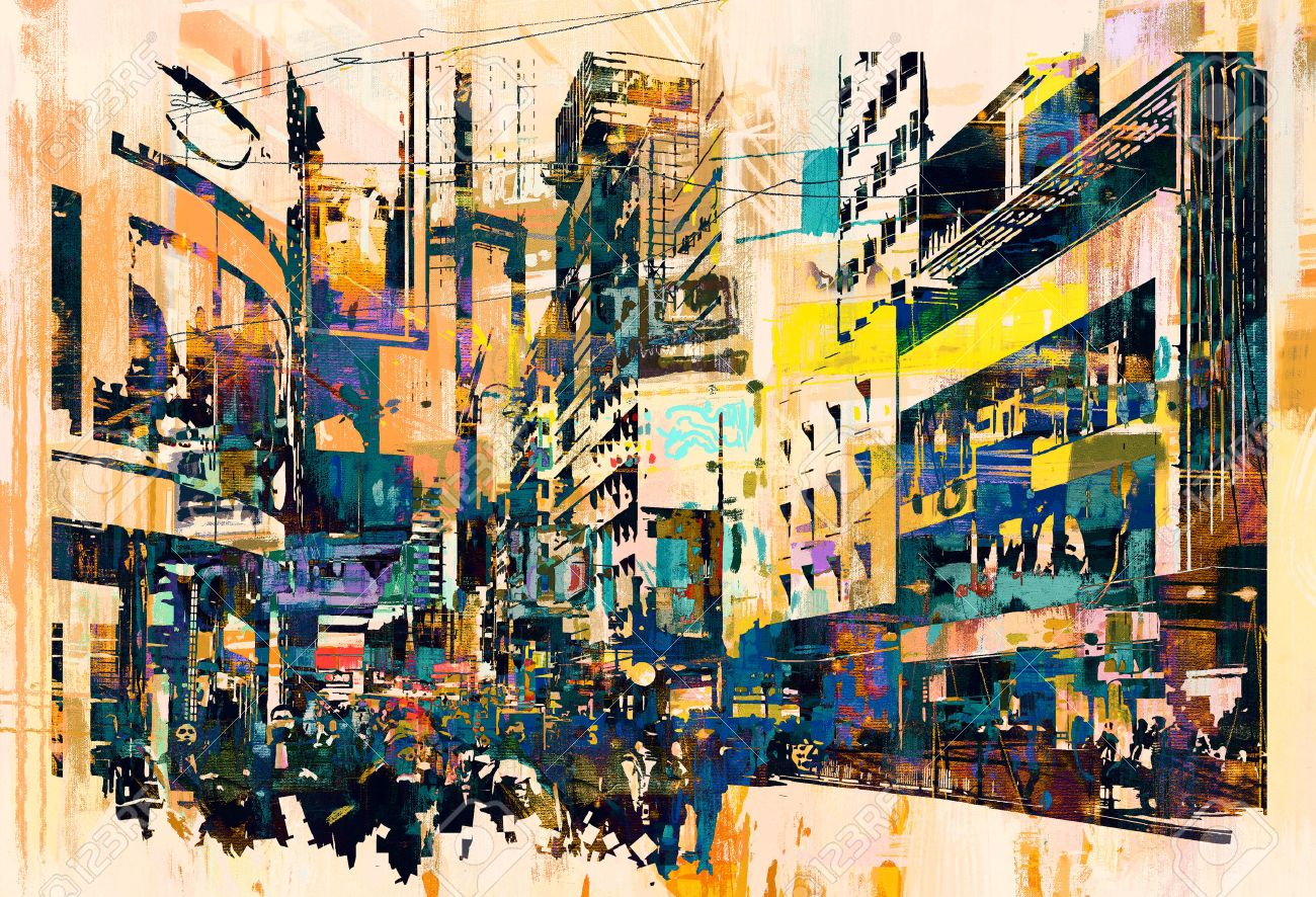 abstract art of cityscape,illustration painting Stock Illustration - 48646553