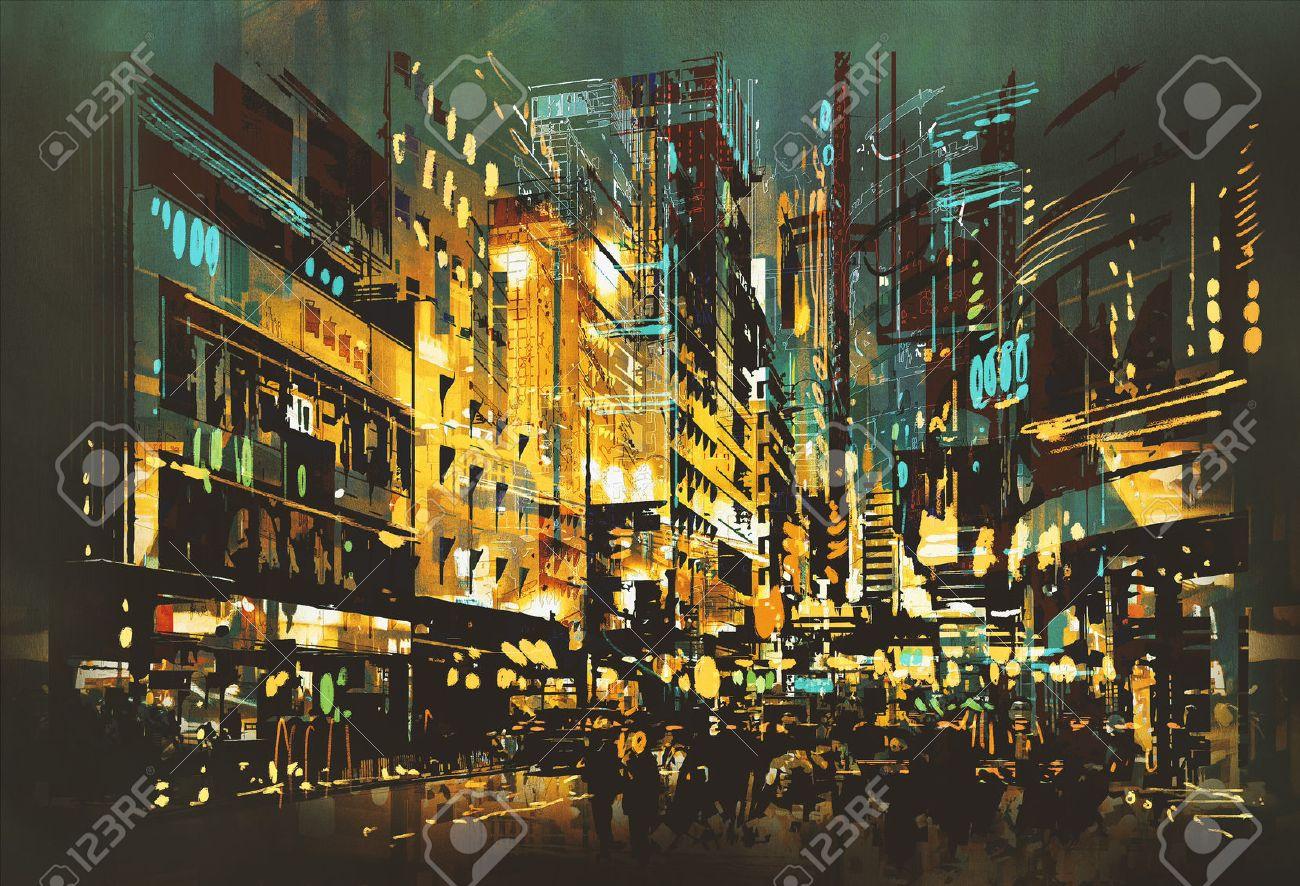night scene cityscape,abstract art painting Stock Photo - 48646557