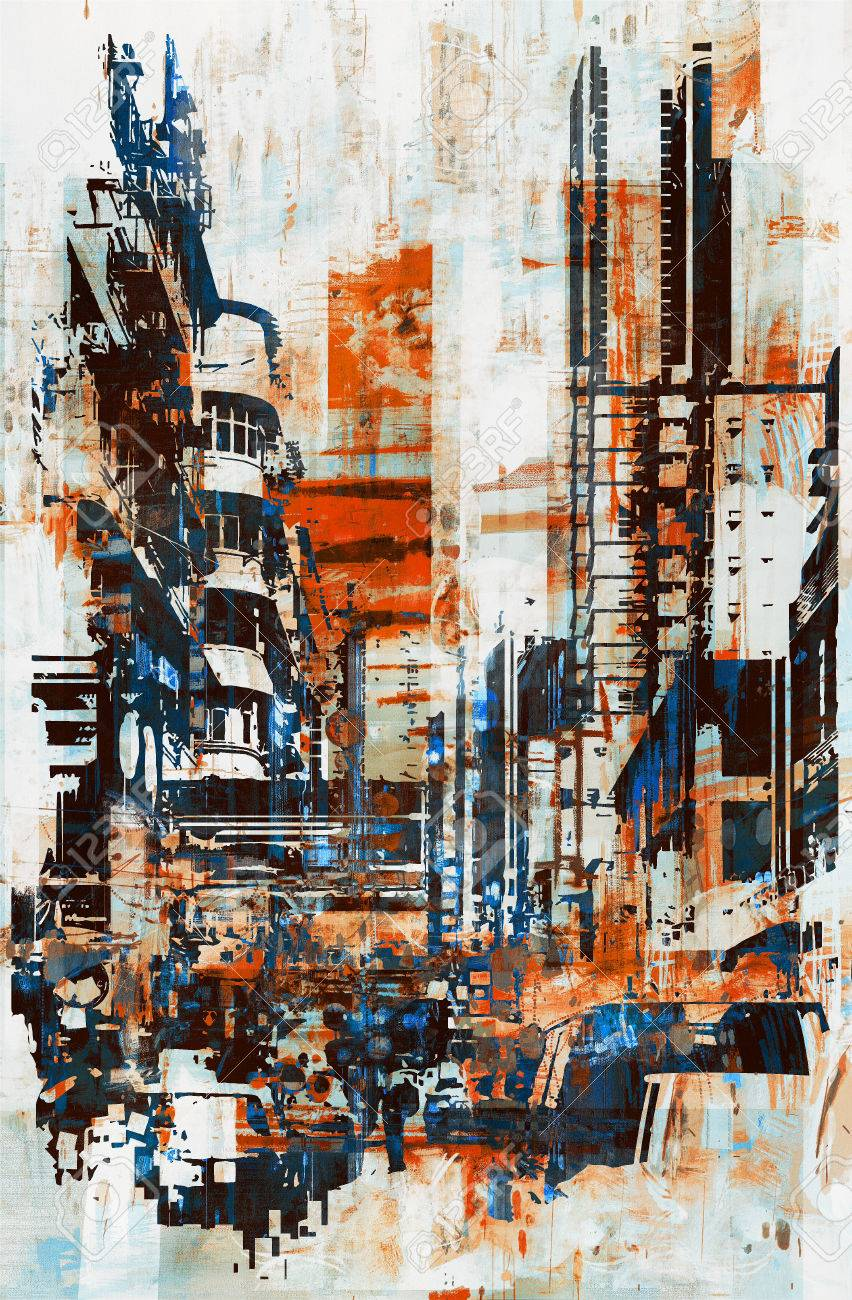 abstract grunge of cityscape,illustration painting Stock Photo - 48763392