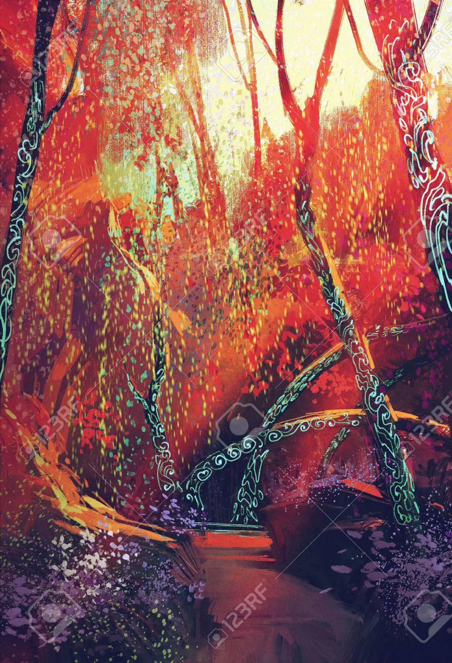 カラフルなファンタジーのツリーイラスト風景秋フォレスト の写真素材