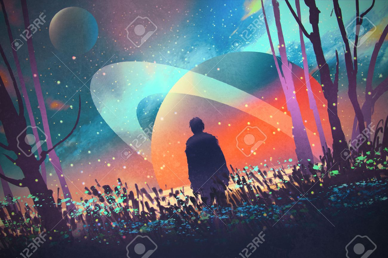 man standing alone in forest with fictional planets background,illustration Stock Illustration - 49565617