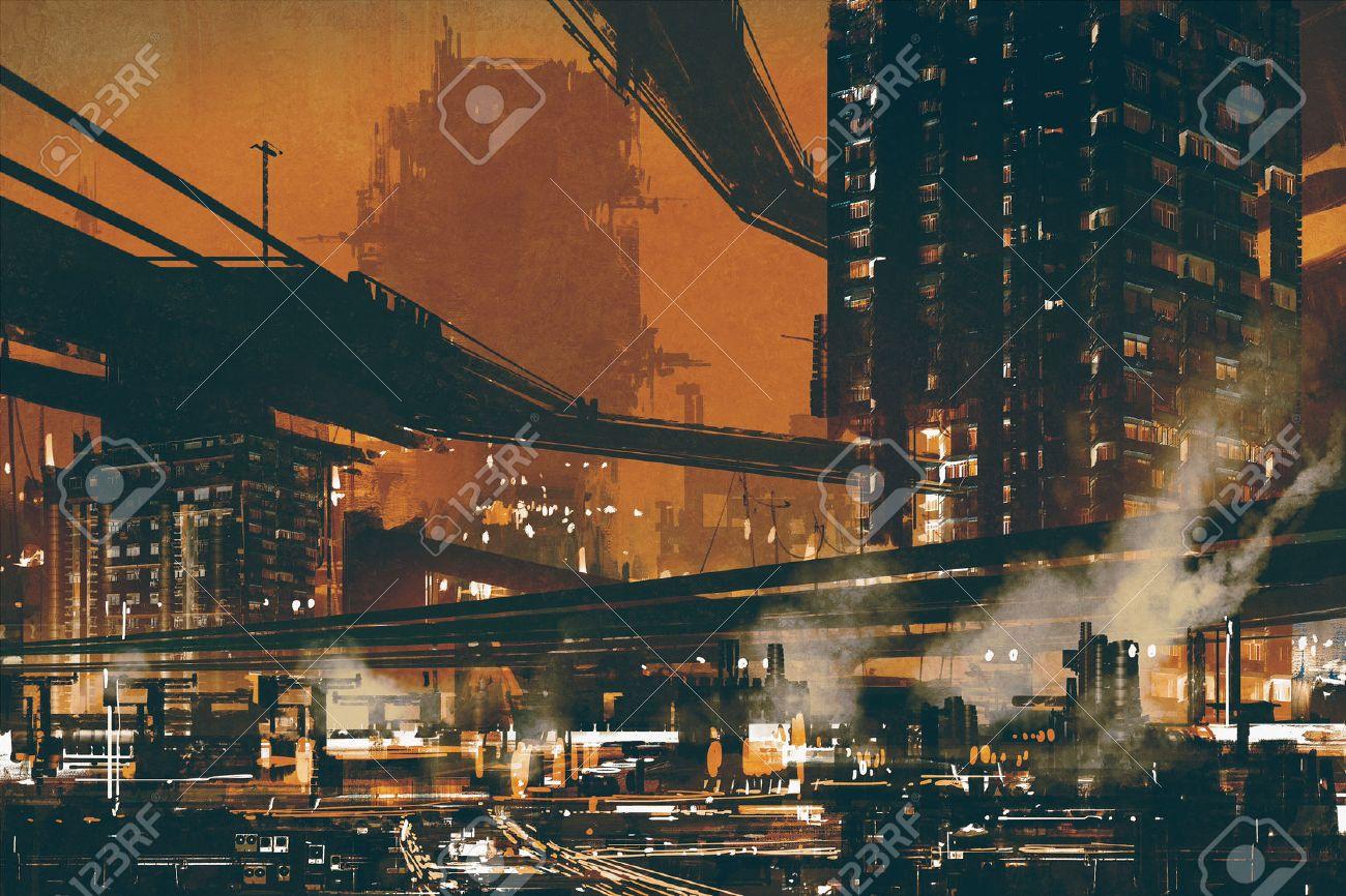 sci fi scene showing futuristic industrial cityscape,illustration Stock Illustration - 49565628