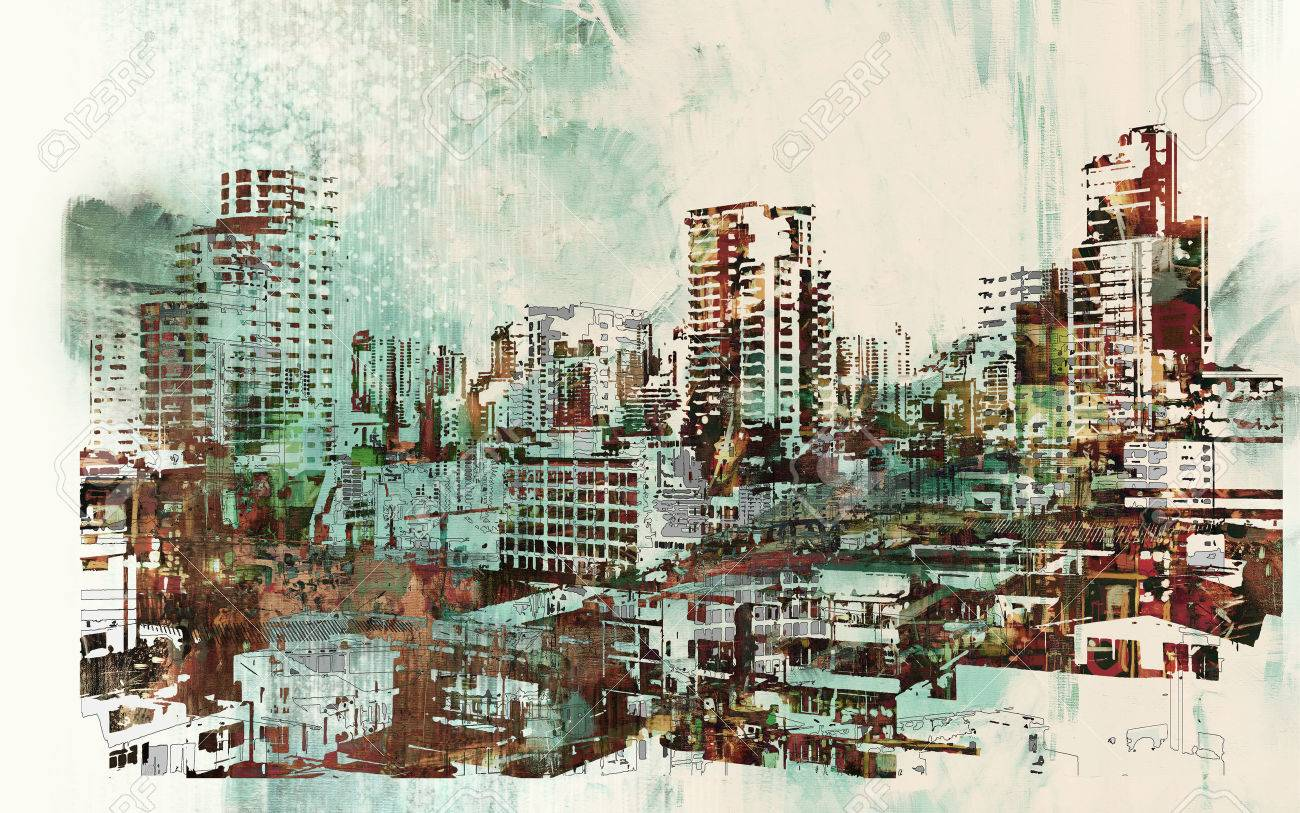 cityscape with abstract textures,illustration painting Stock Illustration - 50920278