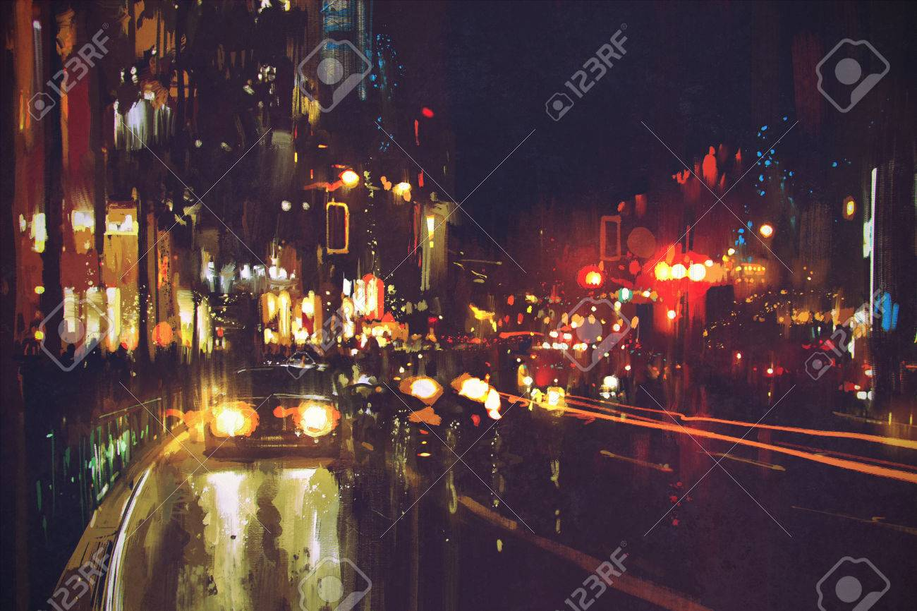 painting of night street with colorful lights Stock Photo - 50920275