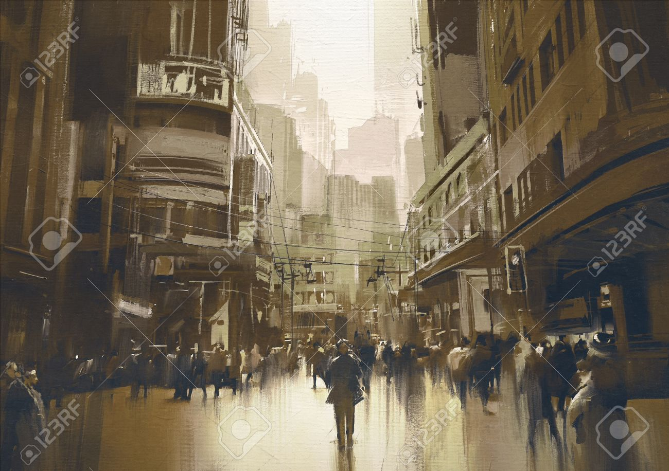 people on street in city,cityscape painting with vintage style Stock Photo - 51231664
