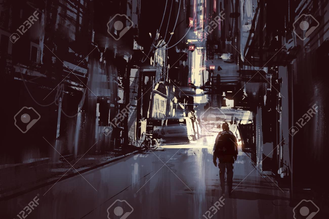 man walking alone in dark city,illustration painting Stock Illustration - 52522614
