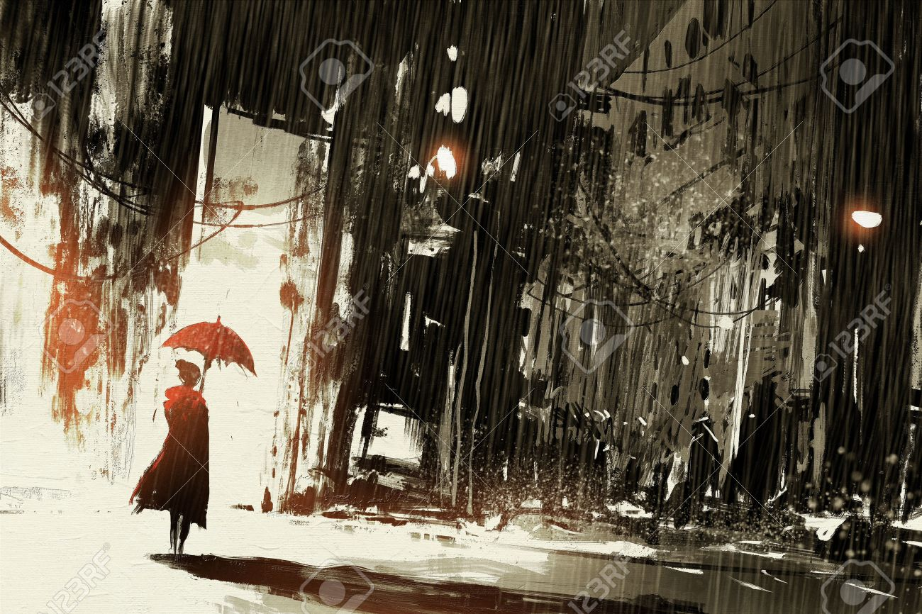 lonely woman with umbrella in abandoned city,digital painting - 52522615