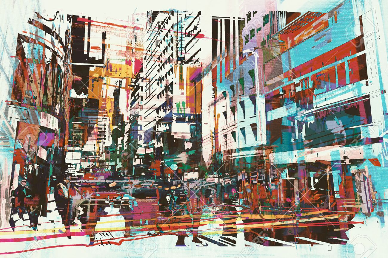 abstract art of cityscape,illustration painting Stock Illustration - 52675610