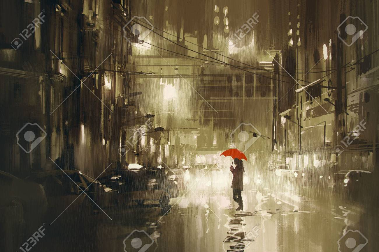 woman with red umbrella crossing the street,rainy night,illustration Stock Illustration - 52889366