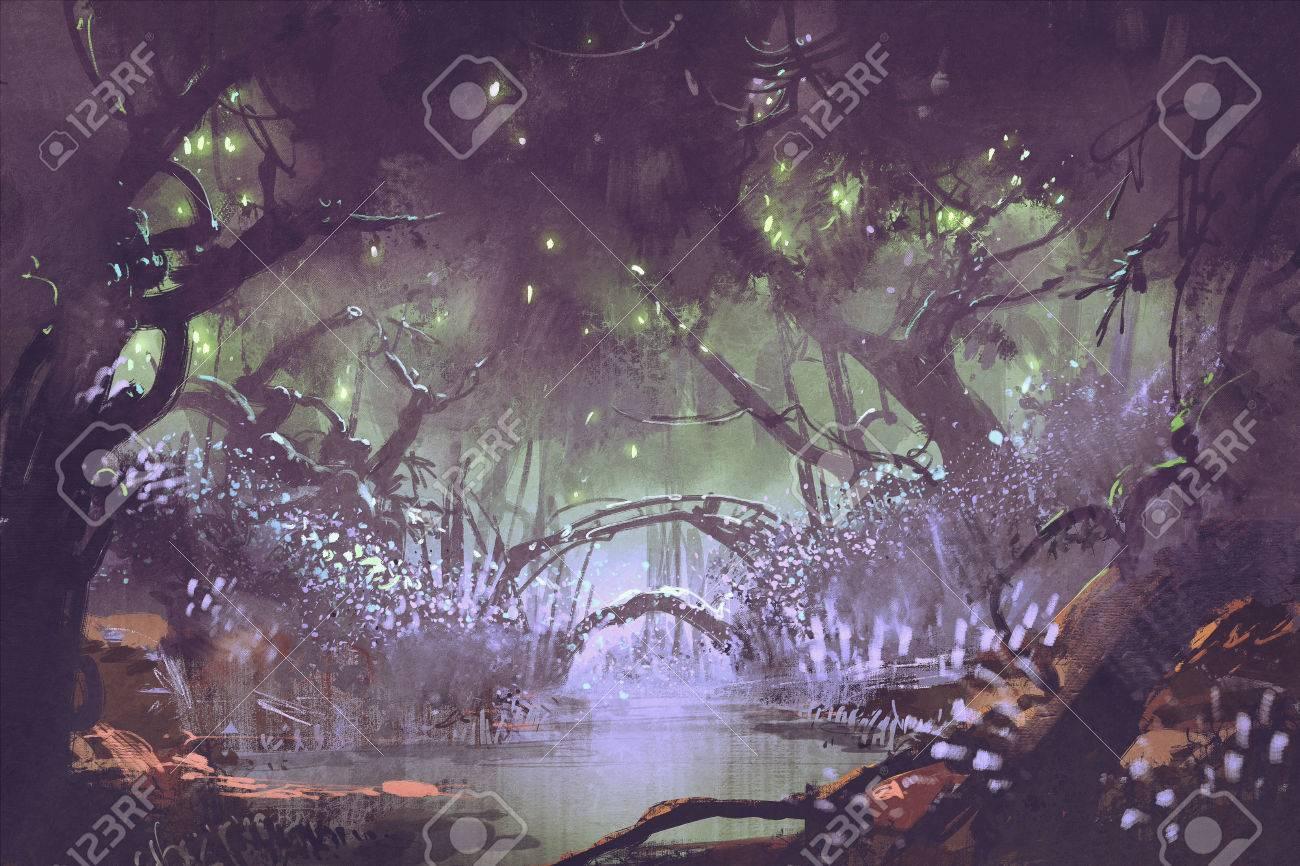 Enchanted Forestfantasy Landscape Painting Stock Photo
