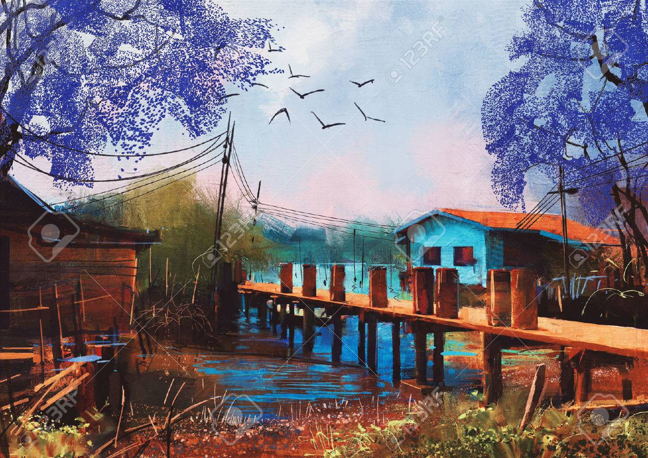 old fishing village,oil painting style Stock Photo - 55394048