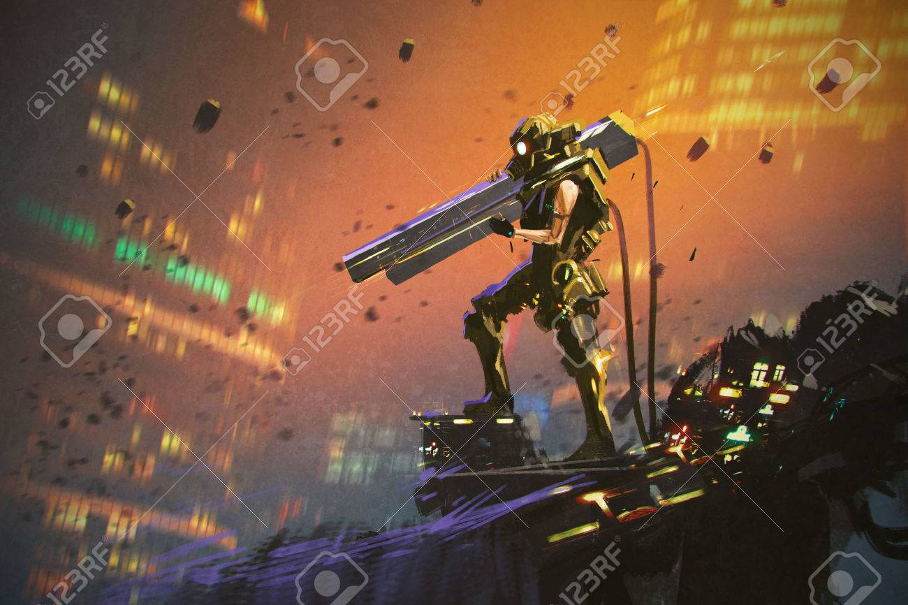futuristic soldier in yellow suit with gun,illustration painting - 55485107