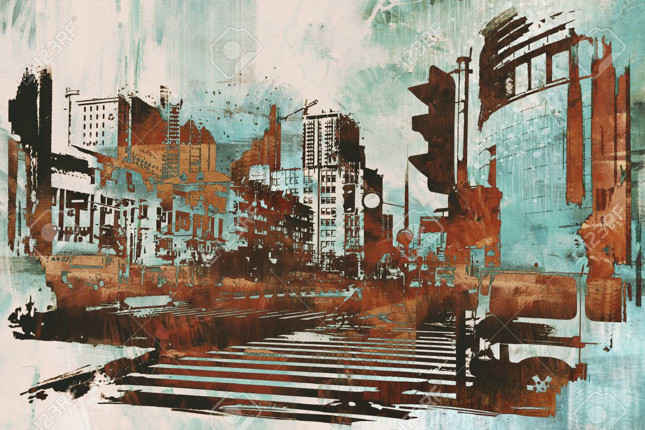 urban cityscape with abstract grunge,illustration painting - 55485182