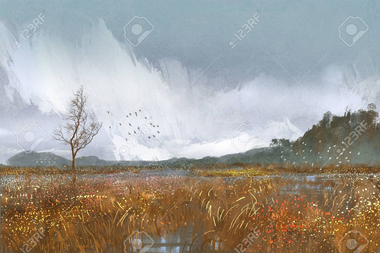Painting of landscape with fields and meadowsrainy weathersad painting of landscape with fields and meadowsrainy weathersad mood stock photo baditri Images