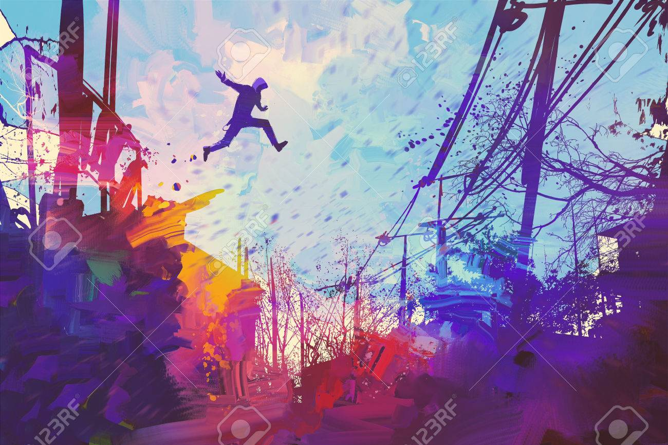 man jumping on the roof in city with abstract grunge,illustration painting Stock Illustration - 56095777