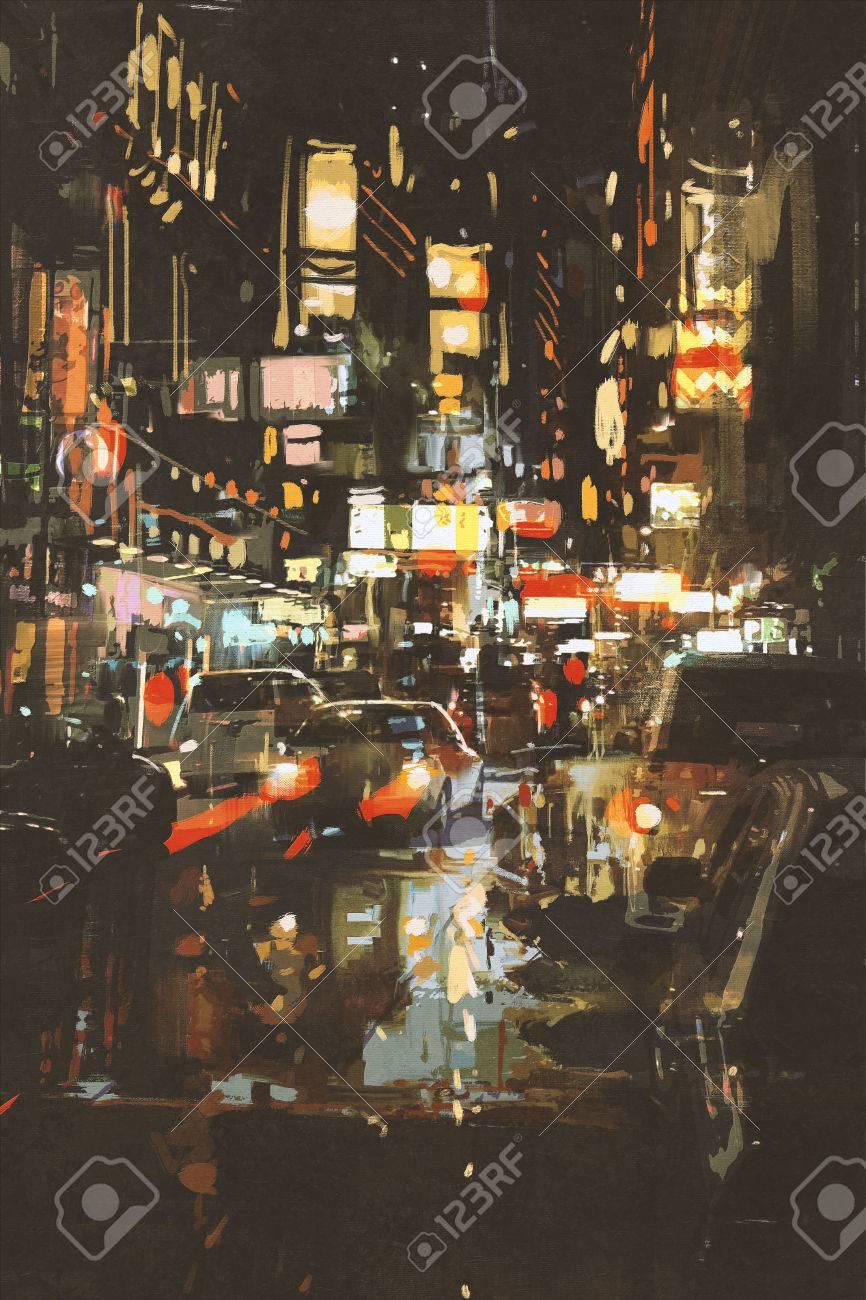 Escena Nocturna De Una Calle De La Ciudad Pintura Ilustración Fotos