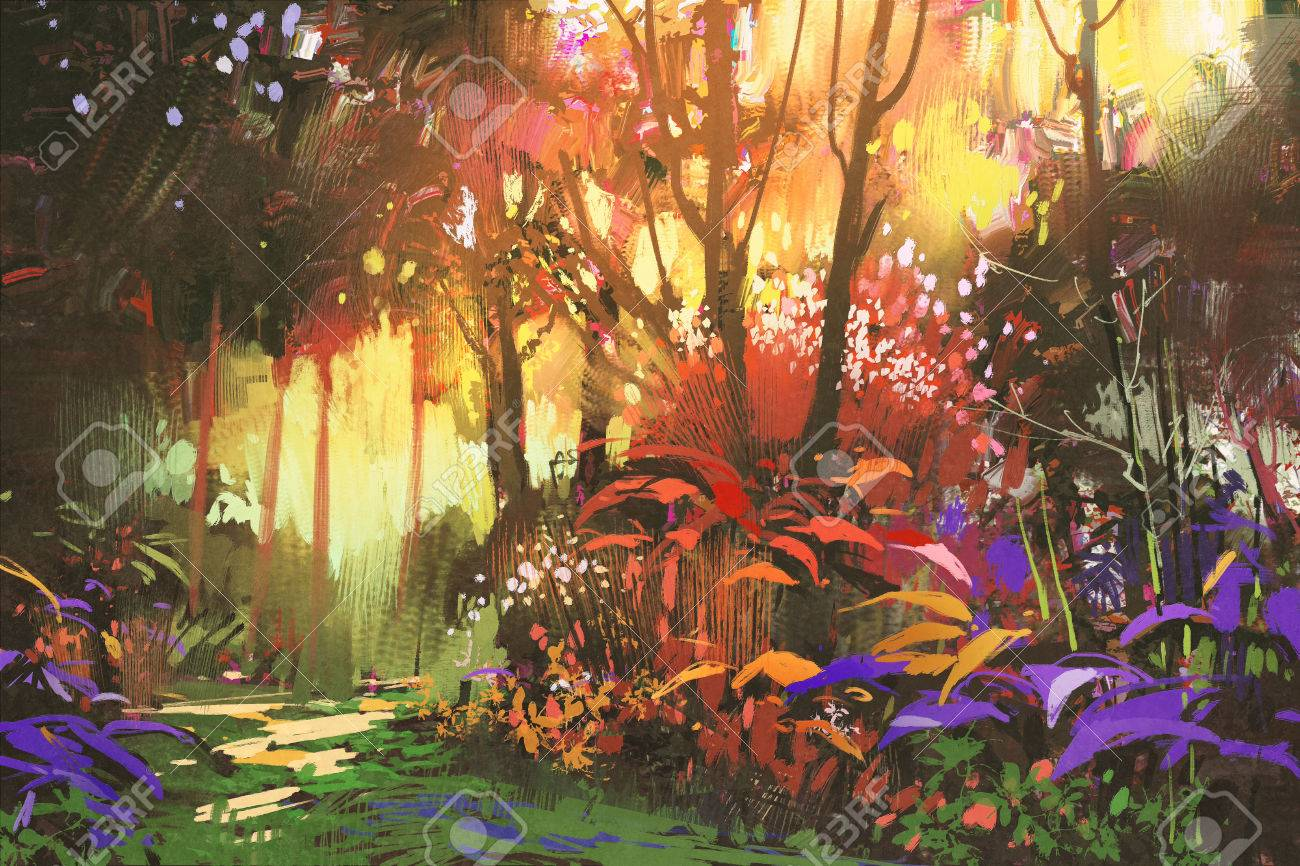 日光イラストと美しい森の風景画 の写真素材画像素材 Image 56697604