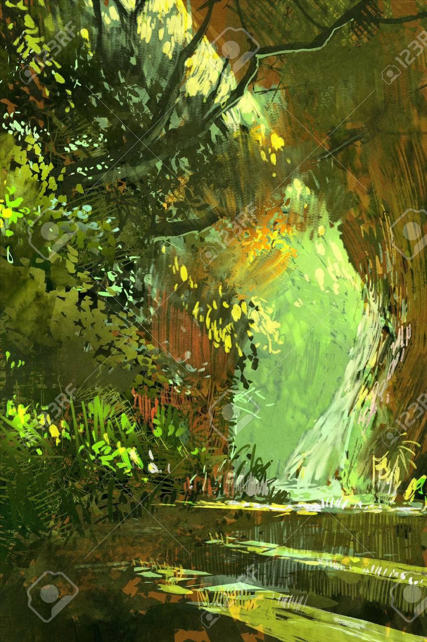 森 風景 風景イラストの通路 の写真素材 画像素材 Image