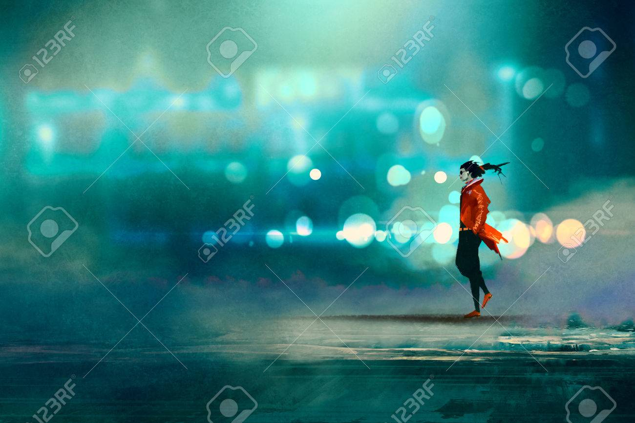 man walking at night in the city,gorgeous cold bokeh background,illustration - 59460365