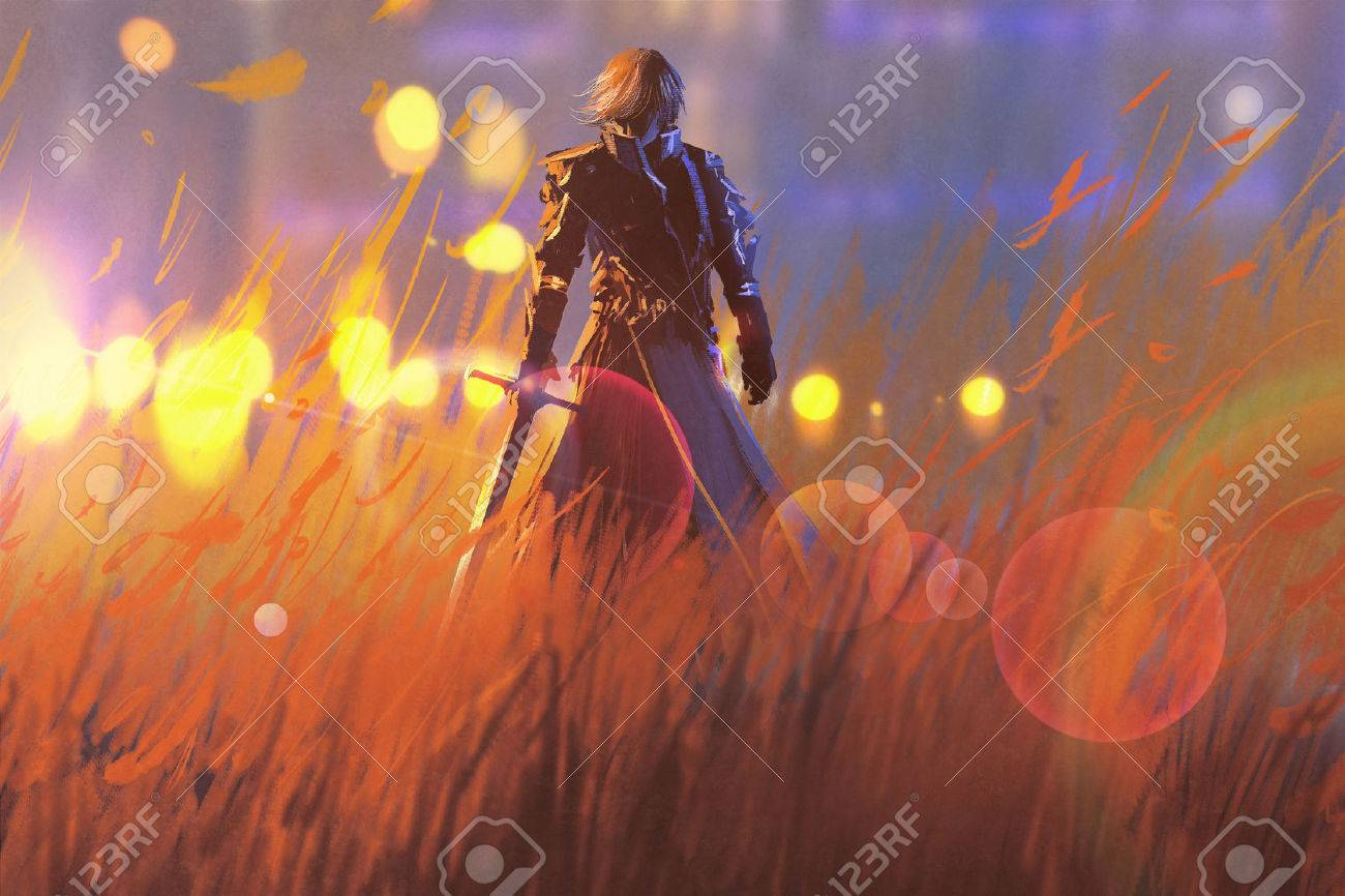 knight warrior standing with sword in field,illustration painting Stock Illustration - 57835742