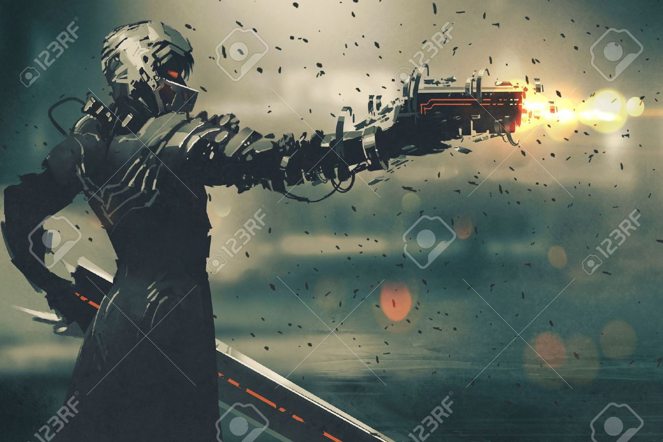 sci-fi gaming character in futuristic suit aiming weapon,shooting gun,illustration Stock Illustration - 57835743