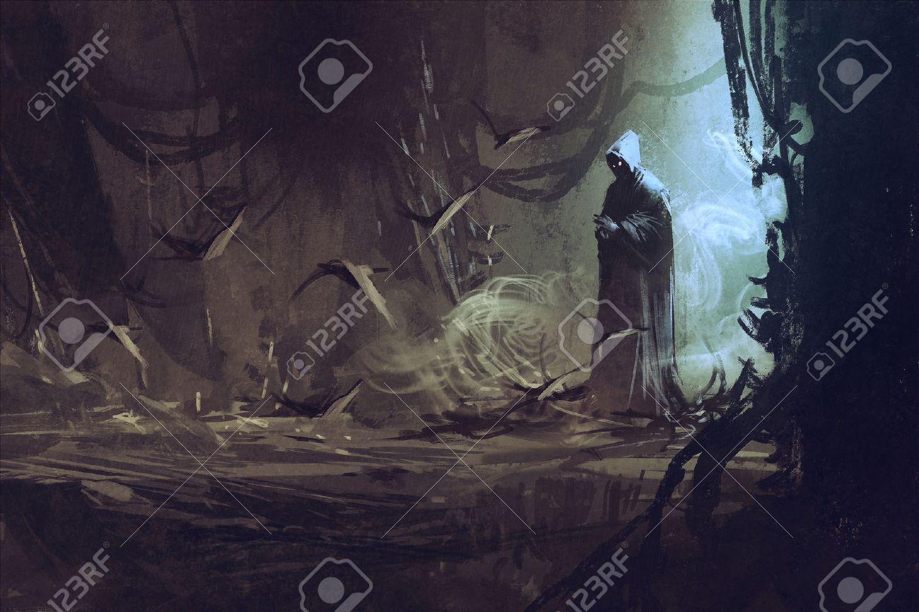 Mysteus フォレストウィザード魔術師イラストで暗いマント の写真