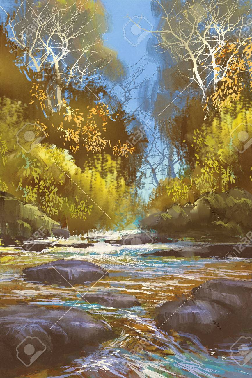 森川滝イラストでクリークの風景画 の写真素材画像素材 Image
