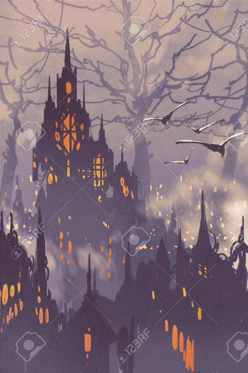 ファンタジー町 風景イラストの大きな木と妖精 の写真素材 画像素材 Image