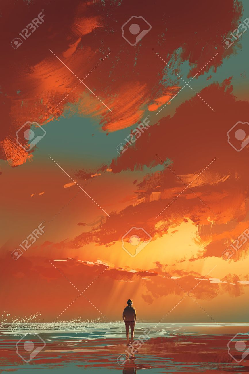lonely man standing on the sea under sunset sky,illustration painting Stock Illustration - 58712658