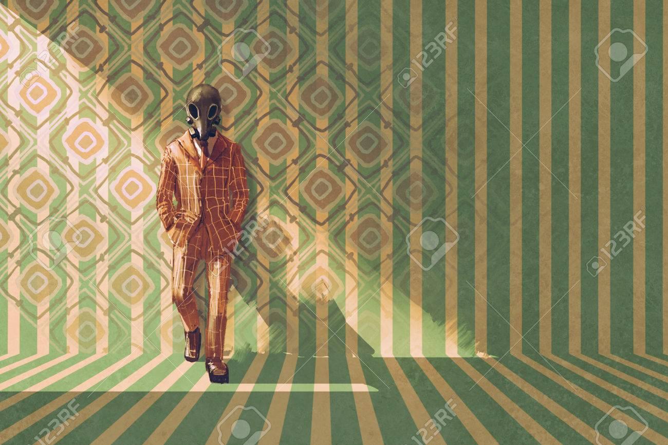 Affaires Vintage Avec Un Masque à Gaz Debout Contre Le Mur Avec Rétro Motif Illustration Peinture