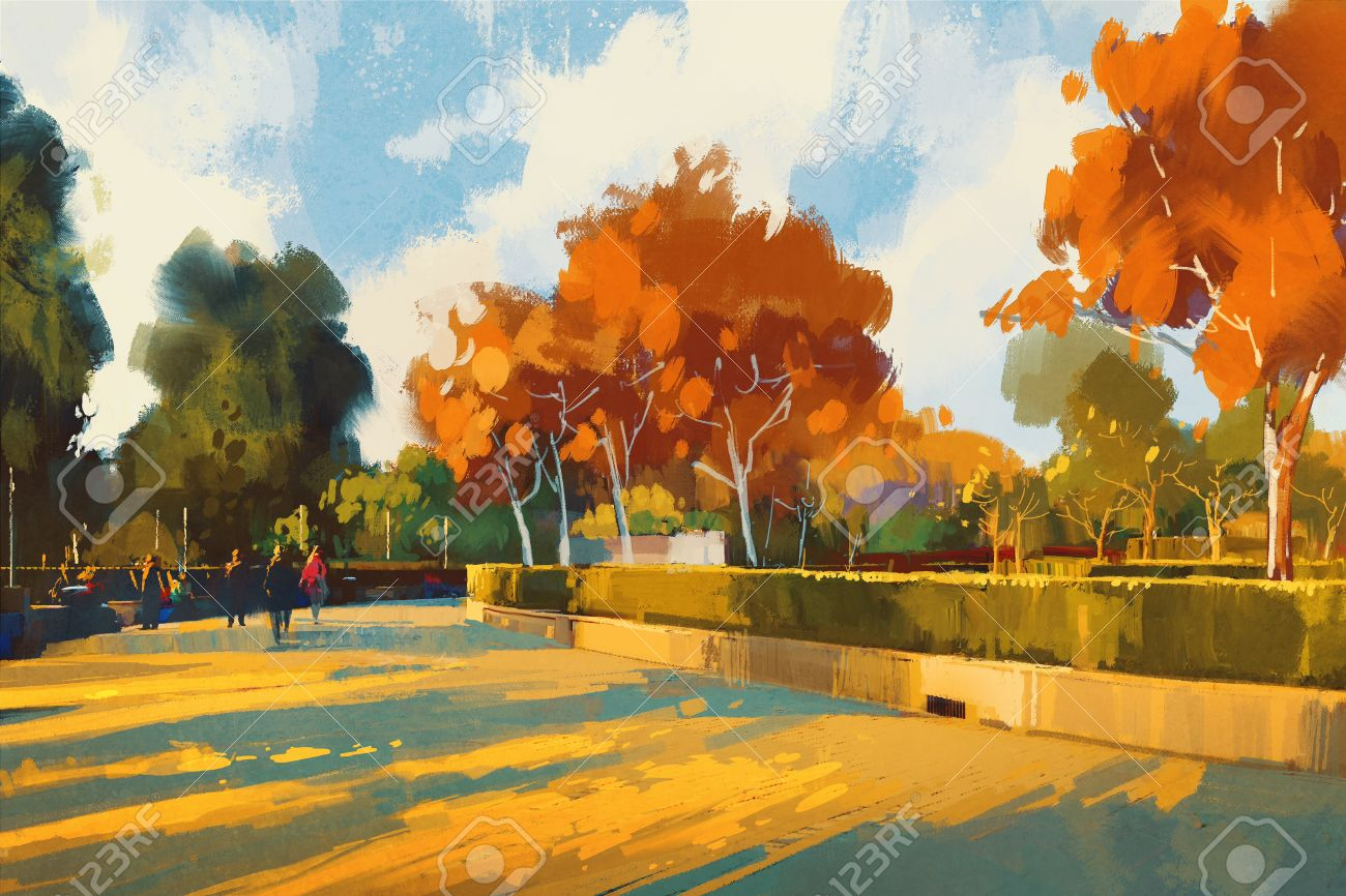 path in the autumn park,landscape painting,illustration - 59291037