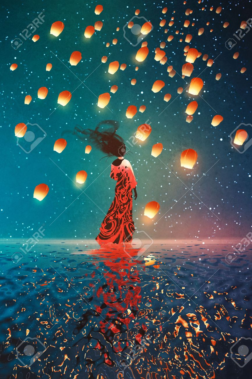 woman in dress standing on water against lanterns floating in a night sky,illustration painting Stock Illustration - 59291038