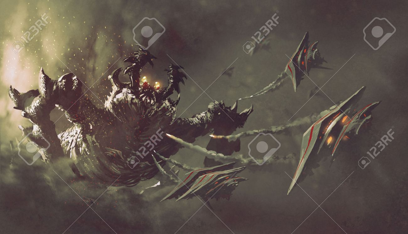 battle between spaceships and monster,sci-fi concept illustration painting - 59460411