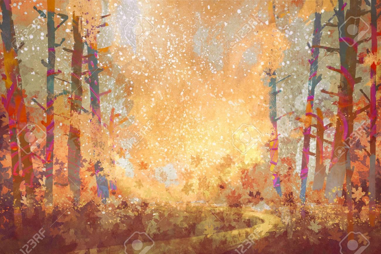 秋の森風景画イラストの経路 の写真素材画像素材 Image 60509319