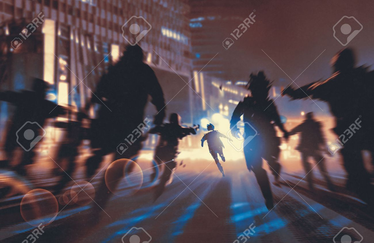 man running away from zombies in night city,illustration,digital painting Stock Illustration - 60871748