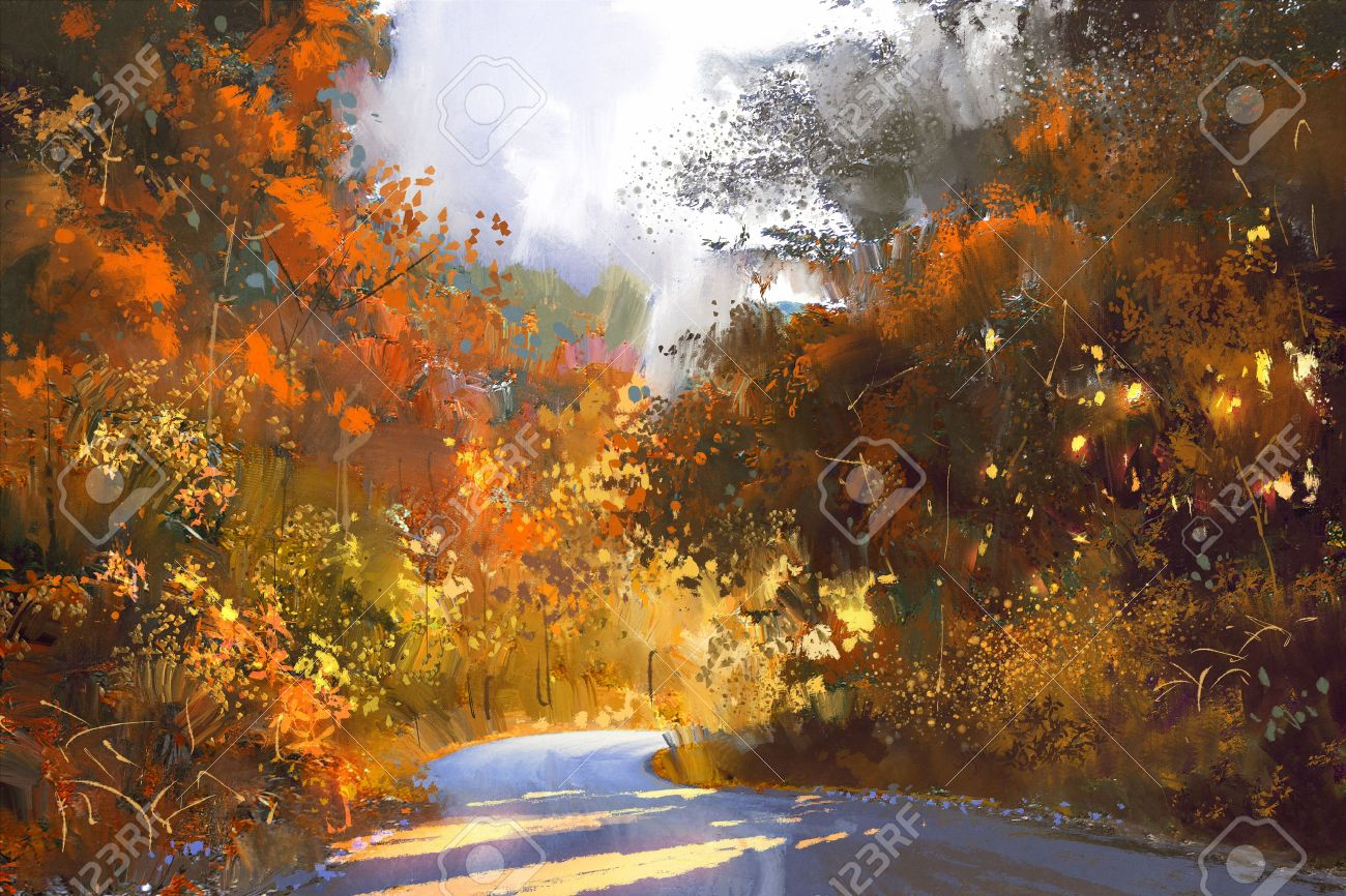 カラフルな森秋の風景画イラスト経路 の写真素材画像素材 Image