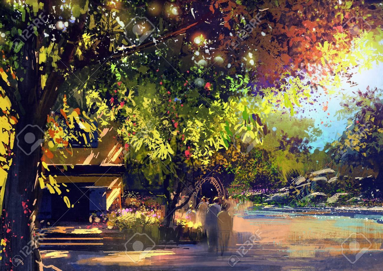 美しい風景画を屋外の景色イラスト の写真素材画像素材 Image 61268371