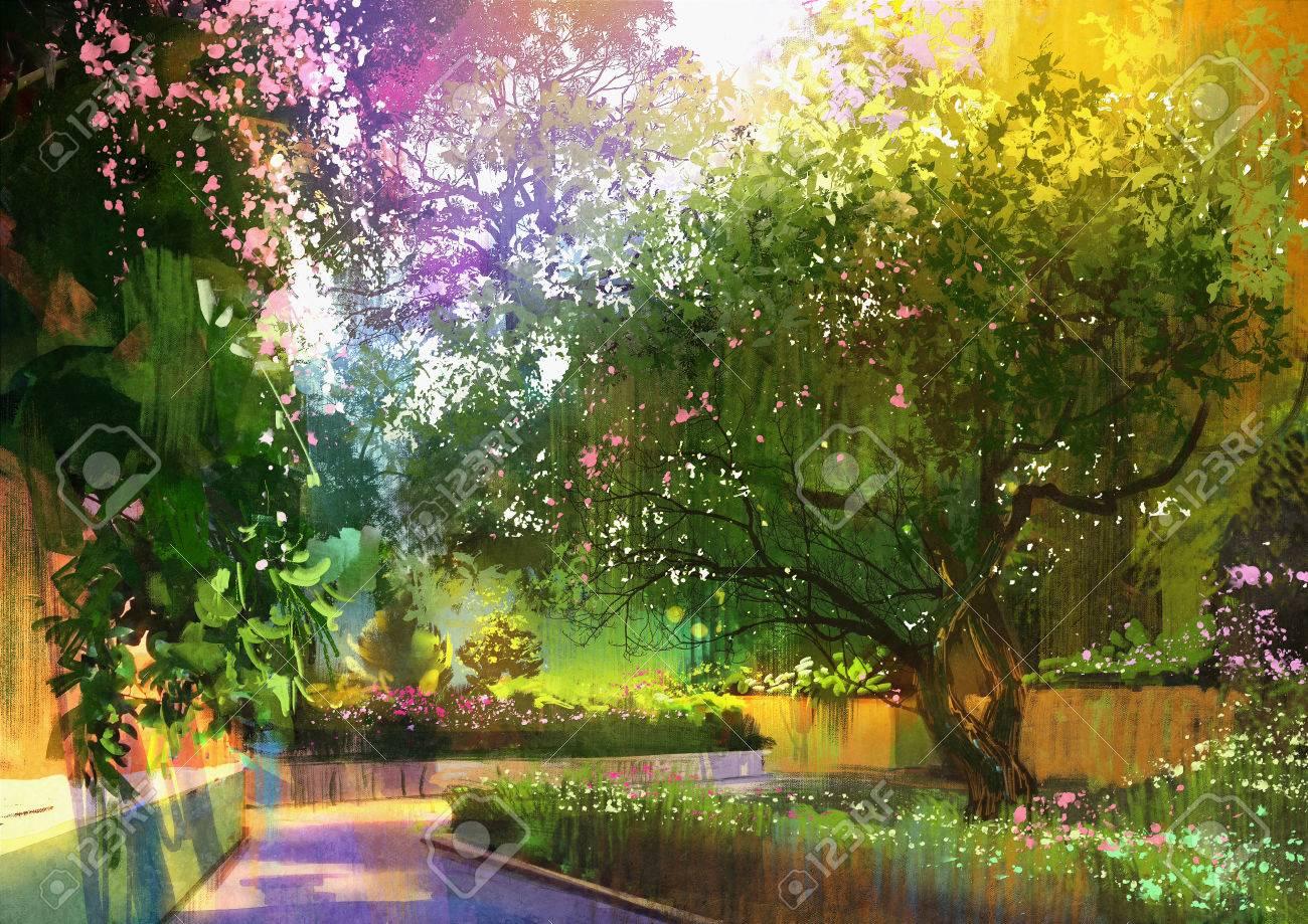 静かな緑豊かな公園イラスト風景画の経路 の写真素材画像素材
