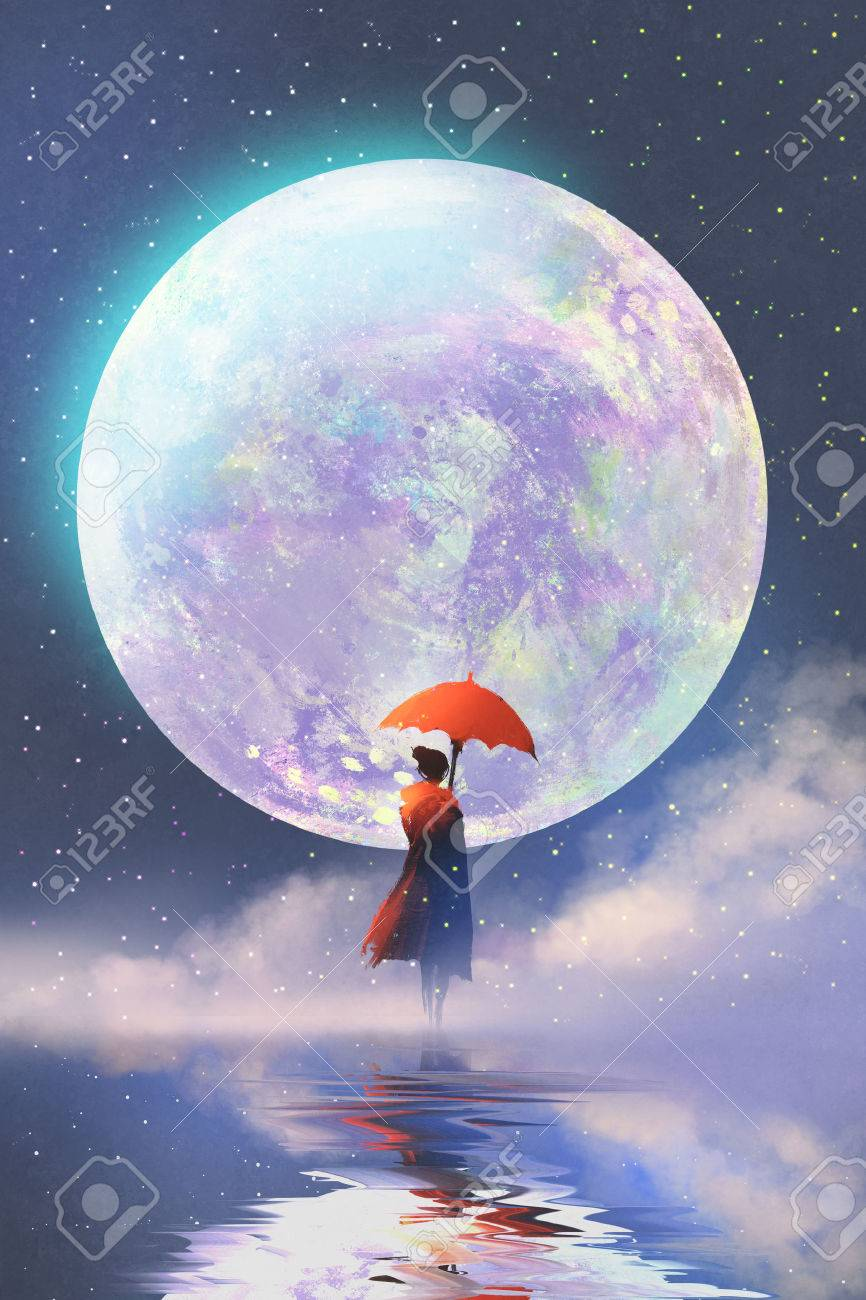 woman with red umbrella standing on water against full moon background,illustration painting - 64039601