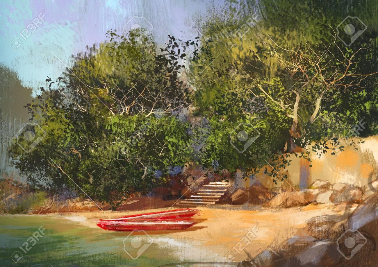 熱帯のビーチ風景イラストの風景画 の写真素材画像素材 Image